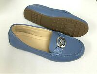 Women MK Michael Kors Molly Loafer Slip On Shoes/loafers Leather Denim Blue