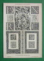 FRENCH RENAISSANCE Graphic Ornaments Initials - Antique Litho Print