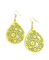 Laser Cut Wooden Flower Earrings – Yellow / Ladies Wooden Earrings / Wooden Gift