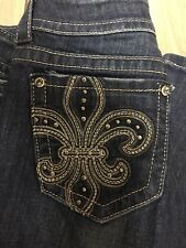 Miss Me Medium Wash Jp514582 Embellished Boot Cut Jeans Sz 28