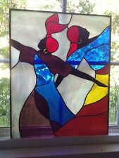 "STAINED GLASS WINDOW AFRICAN DANCERS 20"" X 16"" by WILLIAMS signed and numbered"