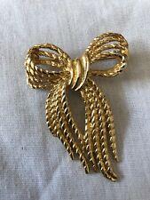 Vintage AGD BJD Signed Ribbon Bow Pin Brooch Gold Tone Metal