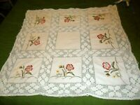 """VINTAGE COTTON EMBROIDERED PINK FLORAL SQUARES TABLECLOTH-31"""" X 31""""w LACE BORDER"""
