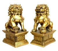 "4"" Pair Feng Shui Golden Lion Statue Evil Guardian Door Fu Foo Dog"
