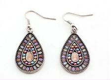 E402 Forever 21 Bohemian Purple Pink Beads Dangling Water Drop Earrings UK