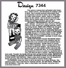 Alice Brooks Boy & Girl Twin Dolls W Clothes Fabric sew Transfer pattern # 7344