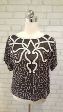 Ladies Vintage Black Silk with White Sequins & Pearl Beads Evening Top Size M