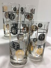 """4 Mid Century Modern Tumblers With Black And Gold Coins 5 1/2"""" Tall Vintage"""