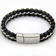 Mens Stainless Steel Braided Leather Bracelet Cuff Knitted Magnet Bangle + Box