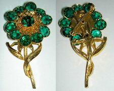 Vintage Swarovski 1980's Bezel Set Sparkling Green Crystal Flower Pin Brooch