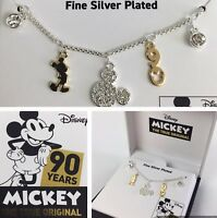 """Disney Mickey Necklace Pendant Two Tone 90th Anniversary Collection 18"""" NEW"""