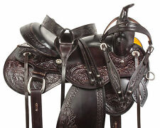 16 17 18 DARK BROWN WESTERN PLEASURE TRAIL BARREL HORSE LEATHER SADDLE TACK