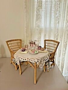 American Girl Samantha Wicker Table and Chairs, Lemonade Glassware, Party Treats