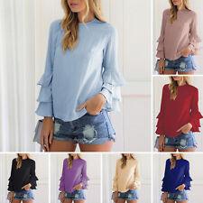 Mujer Informal Blusa De Chifón Camisa Manga Larga Camiseta Top Verano Moda Nueva