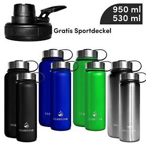 coolrhino Trinkflasche Edelstahl 1L Wasserflasche Isolierflasche BPA frei