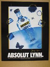 1995 Absolut LYNN artist Jenny Lynn artwork vodka bottle art vintage print Ad