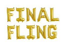 FINAL FLING Gold Letter Balloons - Bridal Shower - Engagement Party Balloons