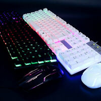 Computer Keyboard With LED Light-Up Keys +Mouse Set For Gaming Professional 2set