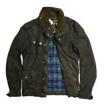 Superdry Wax Dirt Trials Mens Biker Jacket Green Size M RRP £135 Used With Tags