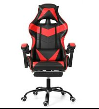 Leather Gaming Comfortbale Chair Recliner With Footrest Neck Pillow Fast Shippin