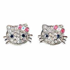 USA Hello Kitty Hair Clip Rhinestone Crystal Hairpin Cat Cute Cartoon Hot Pink