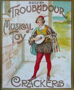 "ORIGINAL VINTAGE BATGER'S CRACKERS BOX TOP LABEL  ""TROUBADOUR MUSICAL TOY"" 1930s"