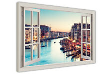 ITALY VENICE SUNSET 3D WINDOW FRAME VIEW CANVAS WALL ART PICTURES CITY PRINTS
