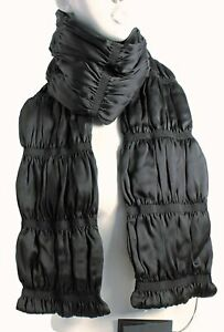 BURBERRY Black NWT $995 Ruchaovr 100% Silk Long BLACK LABEL Quilted Scarf UNISEX