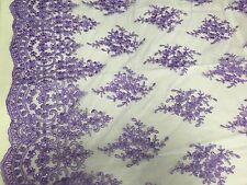 Lavender Royal Flowers Embroider With Sequins And Corded On A Mesh Lace-yard
