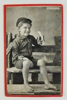 Postcard Creepy Kid Boy Eating Banana Do you want a Bite Toes Curled 1907