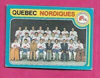 1979-80 OPC # 261 NORDIQUES NHL ENTRY TEAM CHECKLIST CARD (INV# A7933)