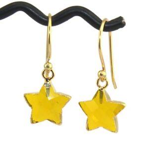 Tiny Star Shape Hydro Quartz Chalcedony Gold Plated Drop Dangle Earrings Jewelry