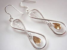 Faceted Citrine Infinity 925 Sterling Silver Earrings Signifies Endless Love