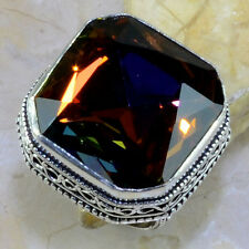 Handmade Rainbow Mystical Fire Topaz 925 Sterling Silver Ring Size: 8.5 #E92104