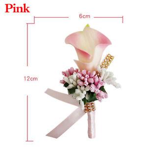 Women Men Artificial Silk Flower Wedding Bride Corsage Boutonniere Brooch Pin