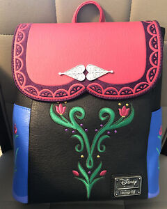 LOUNGEFLY X DISNEY FROZEN ANNA MINI BACKPACK BAG COSPLAY NWT NEW PINK BLACK BLUE