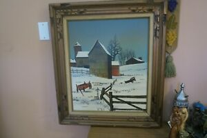 "Vintage Signed Hargrove Barn Wagons Winter Landscape Painting 20"" x 24"" Framed"