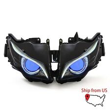 KT Headlight Assembly LED Eagle Eye HID Projector For Honda CBR1000RR 12-16 Blue
