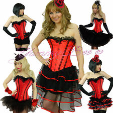 b85ef3373d3 Burlesque Corset Tutu Skirt Fancy Dress Costume Plus Size Outfit Moulin  Rouge Red Long Red Ribbons