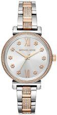 Nuevo Michael Kors MK3880 Sofie Crystal Silver Dial Bicolor Reloj de Mujer 36mm