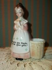 Vintage Enesco Praying Lady Porcelain Toothpick Holder