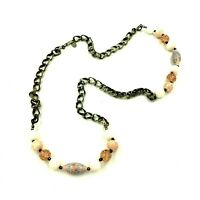 Miriam Haskell Chain Necklace Pink Stones Art Glass Beads Silver Tone Signed VTG