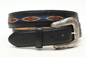 Justin Mens Western Belt 42 Black Leather Woven Diamond Buffalo Nickel Buckle
