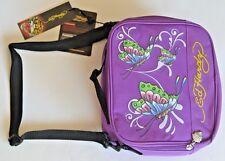 "Ed Hardy Shal butterfly Purple Lunchbox  machine wash 9""x8""X4""X"