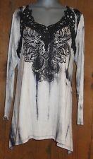 NEW VOCAL BLING TYE-DYED TUNIC shirt blouse plus 2X ZEBRA western vintage LACE