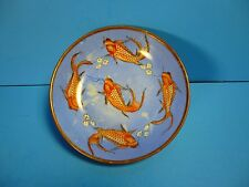 "VINTAGE PORCELAIN BRASS CASED HAND PAINTED 6"" WALL HANGING ASIAN KOI FISH BOWL"