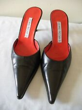 SEXY~! $580 LUCIANO PADOVAN Black Leather Mules Kitten Heel Shoes ITALY   7.5M