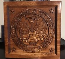Wood Carved Army Logo Plaque - Military Gift, Veteran Gift, Army