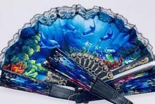 Blauer Handfächer mit Delfinen Taschenfächer Klappfächer