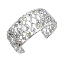 Rhodium Plated Multi Sapphire Bangle (3/4 CT)